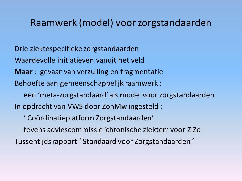Raamwerk (model) voor zorgstandaarden Drie ziektespecifieke zorgstandaarden Waardevolle initiatieven vanuit het veld Maar : gevaar van verzuiling en fragmentatie Behoefte aan gemeenschappelijk raamwerk : een 'meta-zorgstandaard' als model voor zorgstandaarden In opdracht van VWS door ZonMw ingesteld : ' Coördinatieplatform Zorgstandaarden' tevens adviescommissie 'chronische ziekten' voor ZiZo Tussentijds rapport ' Standaard voor Zorgstandaarden '