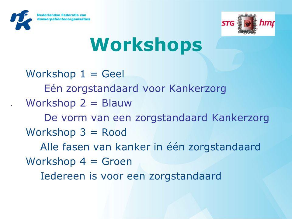 Workshops Workshop 1 = Geel Eén zorgstandaard voor Kankerzorg Workshop 2 = Blauw De vorm van een zorgstandaard Kankerzorg Workshop 3 = Rood Alle fasen van kanker in één zorgstandaard Workshop 4 = Groen Iedereen is voor een zorgstandaard