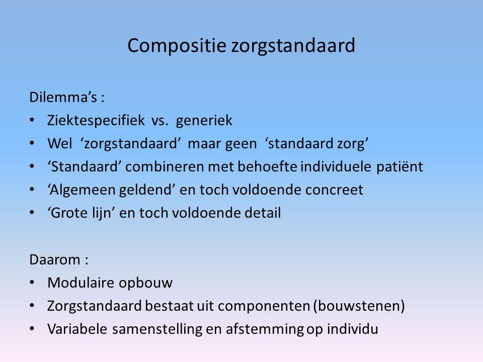 Compositie zorgstandaard Dilemma's : Ziektespecifiek vs. generiek Wel 'zorgstandaard' maar geen 'standaard zorg' 'Standaard' combineren met behoefte i