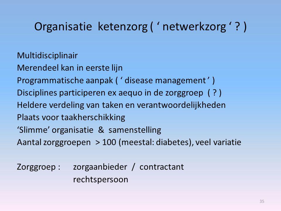 Organisatie ketenzorg ( ' netwerkzorg ' ? ) 35 Multidisciplinair Merendeel kan in eerste lijn Programmatische aanpak ( ' disease management ' ) Discip