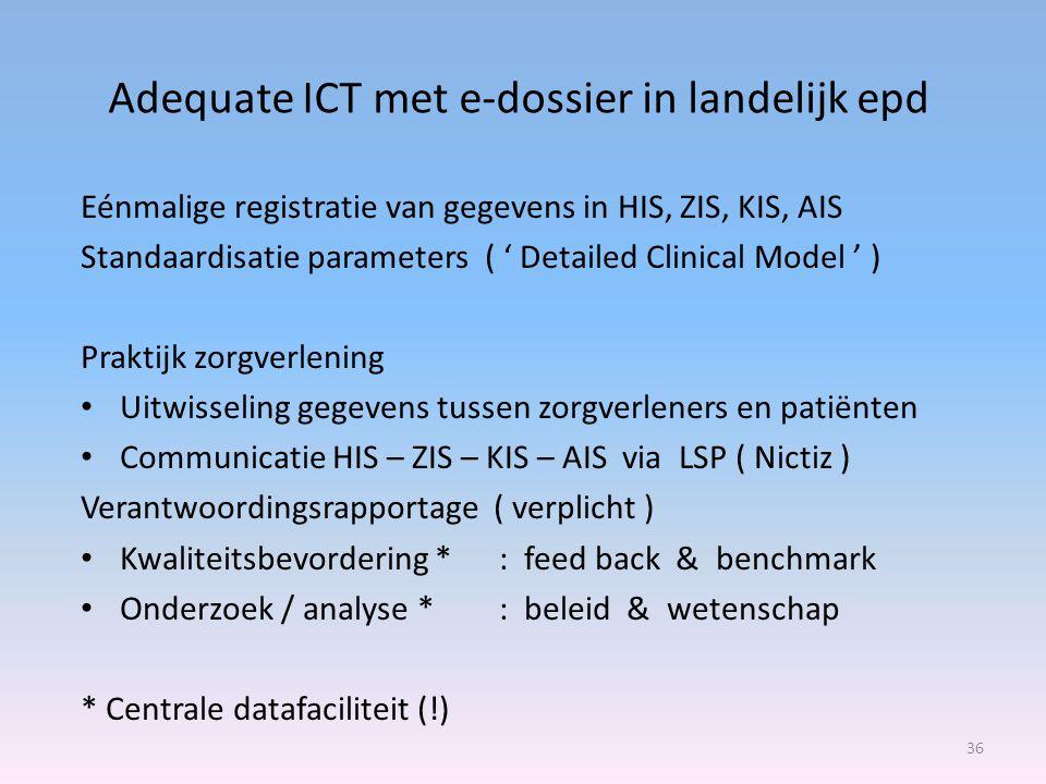 Adequate ICT met e-dossier in landelijk epd 36 Eénmalige registratie van gegevens in HIS, ZIS, KIS, AIS Standaardisatie parameters ( ' Detailed Clinical Model ' ) Praktijk zorgverlening Uitwisseling gegevens tussen zorgverleners en patiënten Communicatie HIS – ZIS – KIS – AIS via LSP ( Nictiz ) Verantwoordingsrapportage ( verplicht ) Kwaliteitsbevordering *: feed back & benchmark Onderzoek / analyse * : beleid & wetenschap * Centrale datafaciliteit (!)