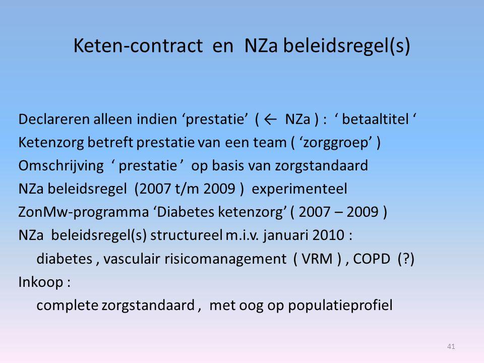 Keten-contract en NZa beleidsregel(s) Declareren alleen indien 'prestatie' ( ← NZa ) : ' betaaltitel ' Ketenzorg betreft prestatie van een team ( 'zorggroep' ) Omschrijving ' prestatie ' op basis van zorgstandaard NZa beleidsregel (2007 t/m 2009 ) experimenteel ZonMw-programma 'Diabetes ketenzorg' ( 2007 – 2009 ) NZa beleidsregel(s) structureel m.i.v.