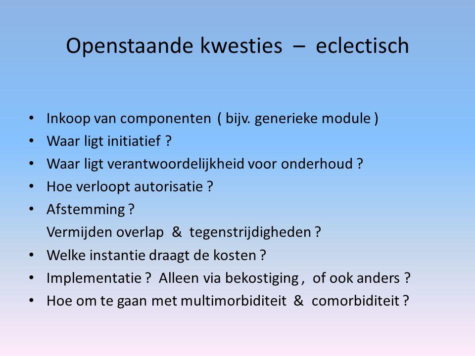 Openstaande kwesties – eclectisch Inkoop van componenten ( bijv. generieke module ) Waar ligt initiatief ? Waar ligt verantwoordelijkheid voor onderho