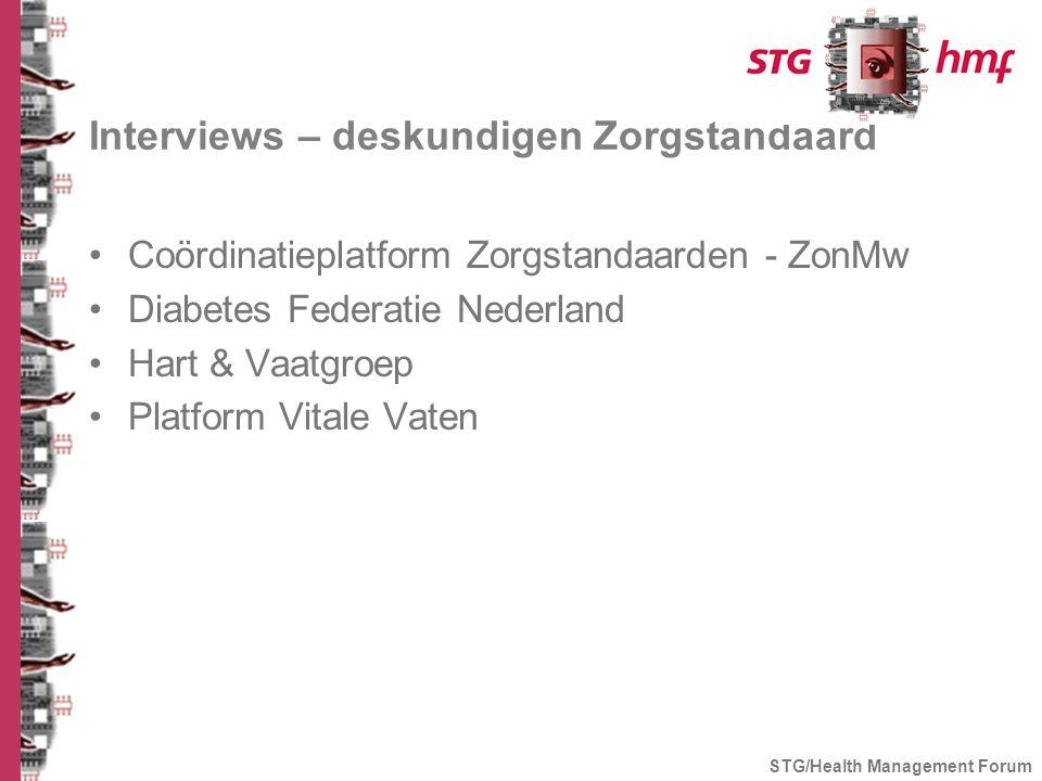 Interviews – deskundigen Zorgstandaard Coördinatieplatform Zorgstandaarden - ZonMw Diabetes Federatie Nederland Hart & Vaatgroep Platform Vitale Vaten STG/Health Management Forum