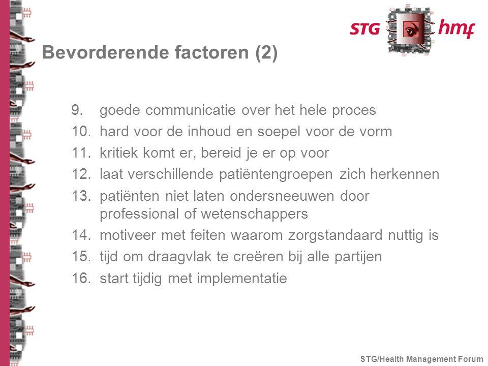 Bevorderende factoren (2) 9.goede communicatie over het hele proces 10.hard voor de inhoud en soepel voor de vorm 11.kritiek komt er, bereid je er op