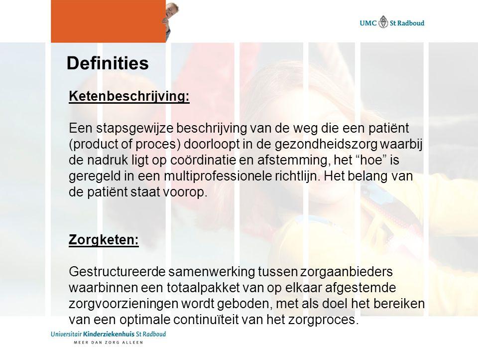 Definities Ketenbeschrijving: Een stapsgewijze beschrijving van de weg die een patiënt (product of proces) doorloopt in de gezondheidszorg waarbij de nadruk ligt op coördinatie en afstemming, het hoe is geregeld in een multiprofessionele richtlijn.
