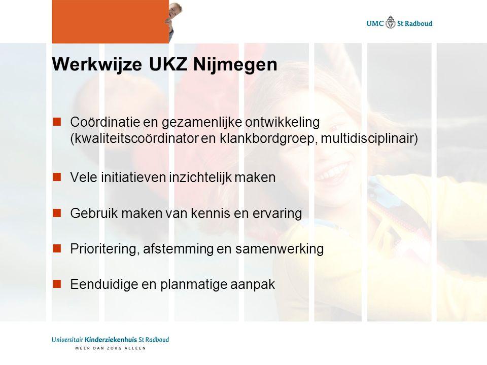Werkwijze UKZ Nijmegen Coördinatie en gezamenlijke ontwikkeling (kwaliteitscoördinator en klankbordgroep, multidisciplinair) Vele initiatieven inzichtelijk maken Gebruik maken van kennis en ervaring Prioritering, afstemming en samenwerking Eenduidige en planmatige aanpak