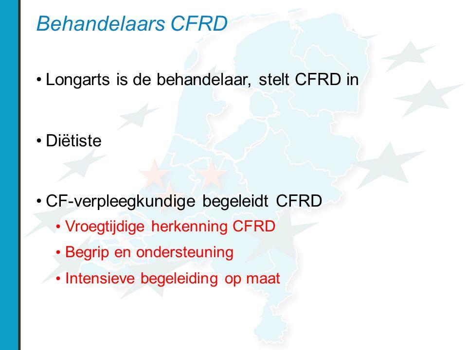 Behandelaars CFRD Longarts is de behandelaar, stelt CFRD in Diëtiste CF-verpleegkundige begeleidt CFRD Vroegtijdige herkenning CFRD Begrip en ondersteuning Intensieve begeleiding op maat