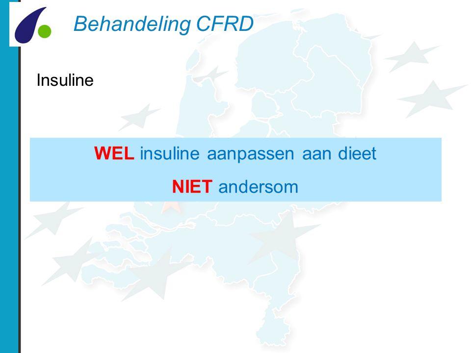 Behandeling CFRD Insuline WEL insuline aanpassen aan dieet NIET andersom