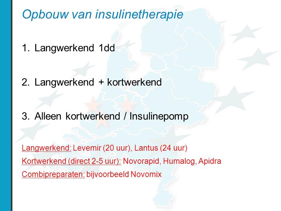 Opbouw van insulinetherapie 1.Langwerkend 1dd 2.Langwerkend + kortwerkend 3.Alleen kortwerkend / Insulinepomp Langwerkend: Levemir (20 uur), Lantus (24 uur) Kortwerkend (direct 2-5 uur): Novorapid, Humalog, Apidra Combipreparaten: bijvoorbeeld Novomix