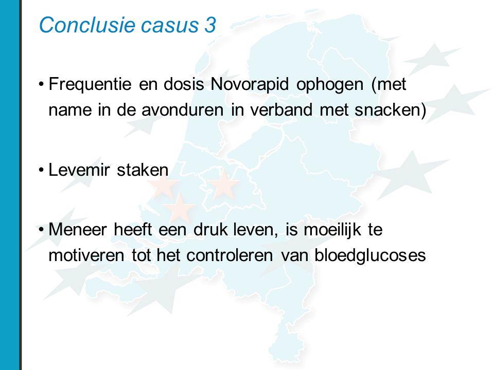 Conclusie casus 3 Frequentie en dosis Novorapid ophogen (met name in de avonduren in verband met snacken) Levemir staken Meneer heeft een druk leven, is moeilijk te motiveren tot het controleren van bloedglucoses