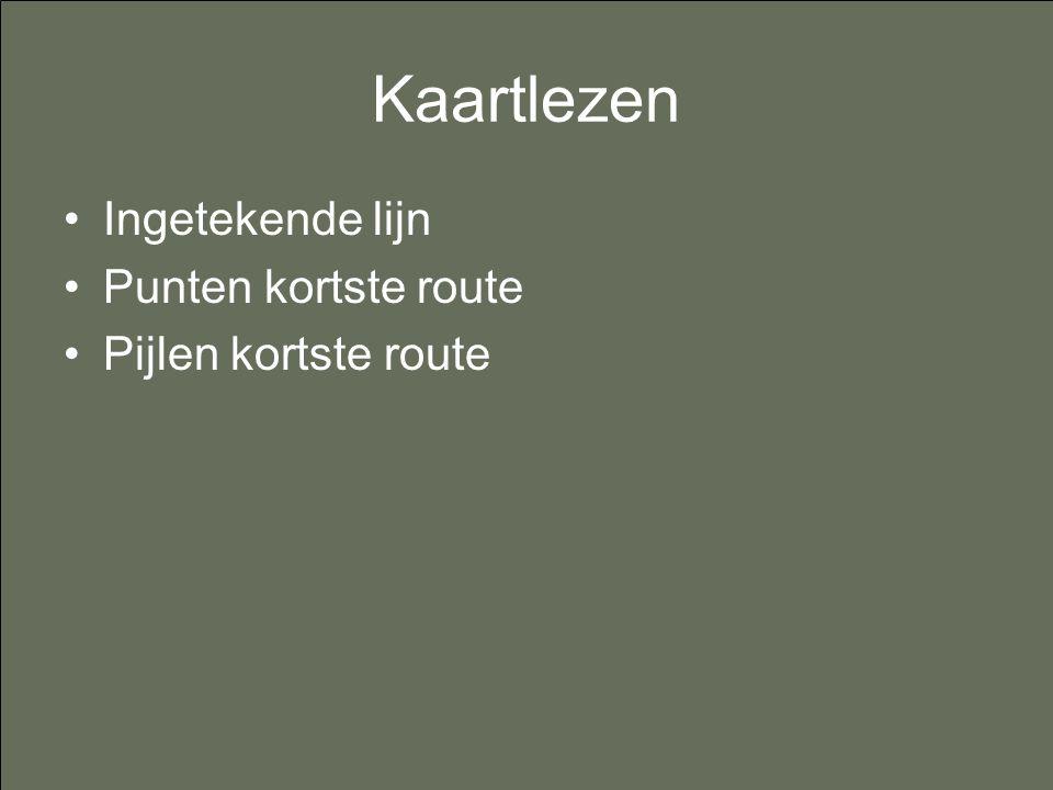 Kaartlezen Ingetekende lijn Punten kortste route Pijlen kortste route