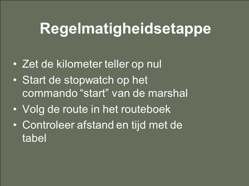 """Regelmatigheidsetappe Zet de kilometer teller op nul Start de stopwatch op het commando """"start"""" van de marshal Volg de route in het routeboek Controle"""