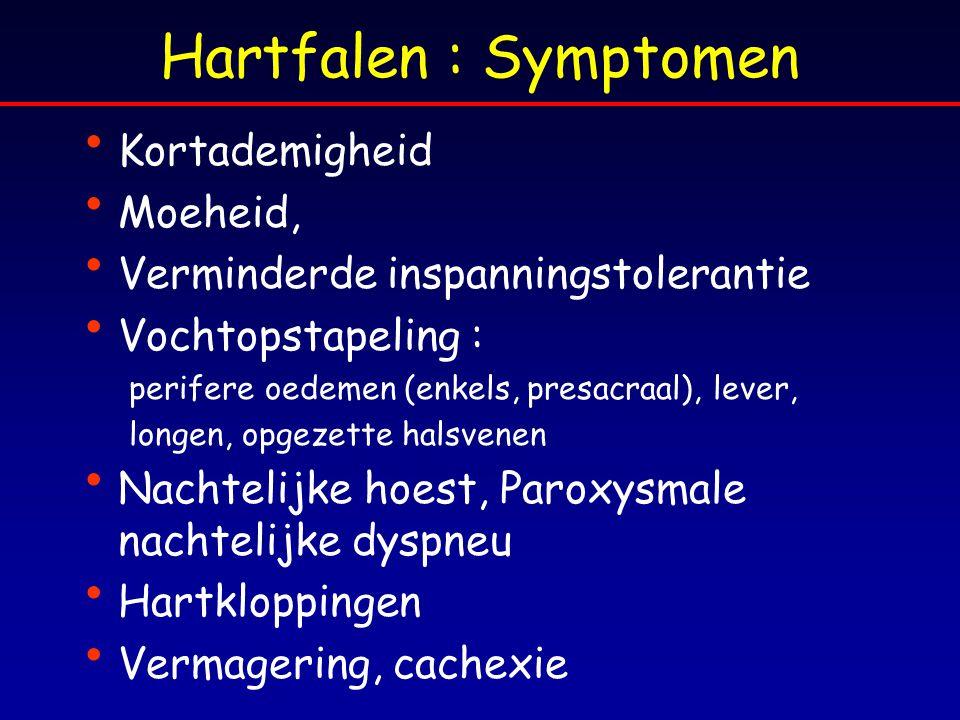 Hartfalen : Symptomen Kortademigheid Moeheid, Verminderde inspanningstolerantie Vochtopstapeling : perifere oedemen (enkels, presacraal), lever, longe