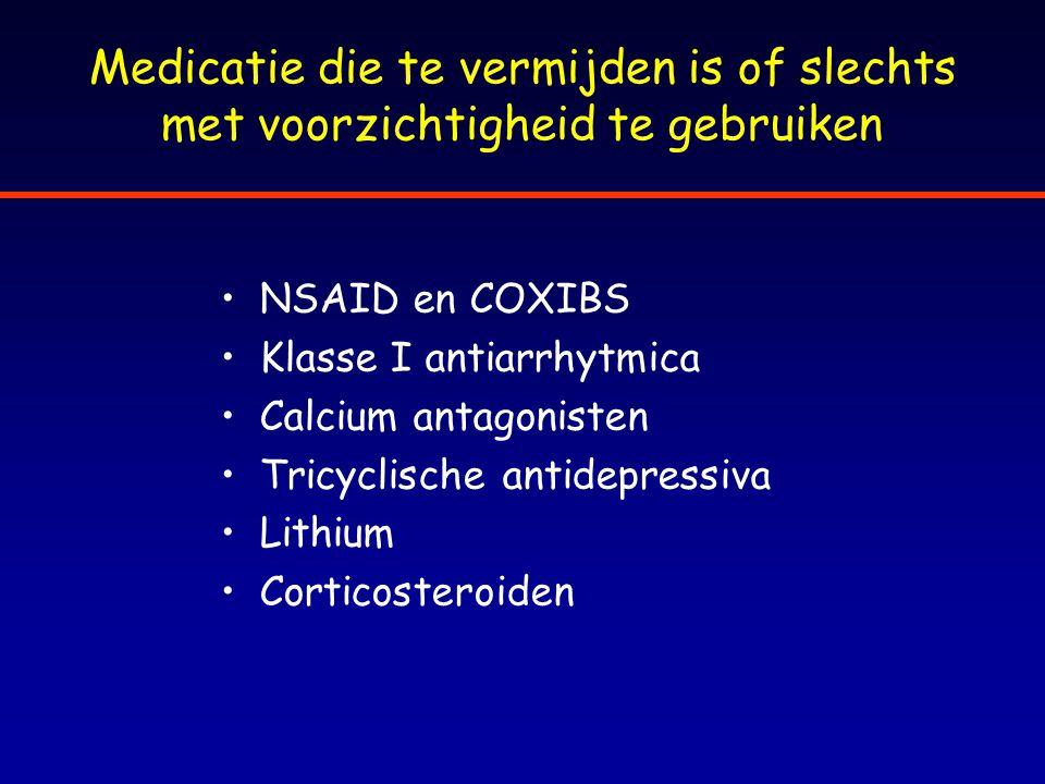 Medicatie die te vermijden is of slechts met voorzichtigheid te gebruiken NSAID en COXIBS Klasse I antiarrhytmica Calcium antagonisten Tricyclische an