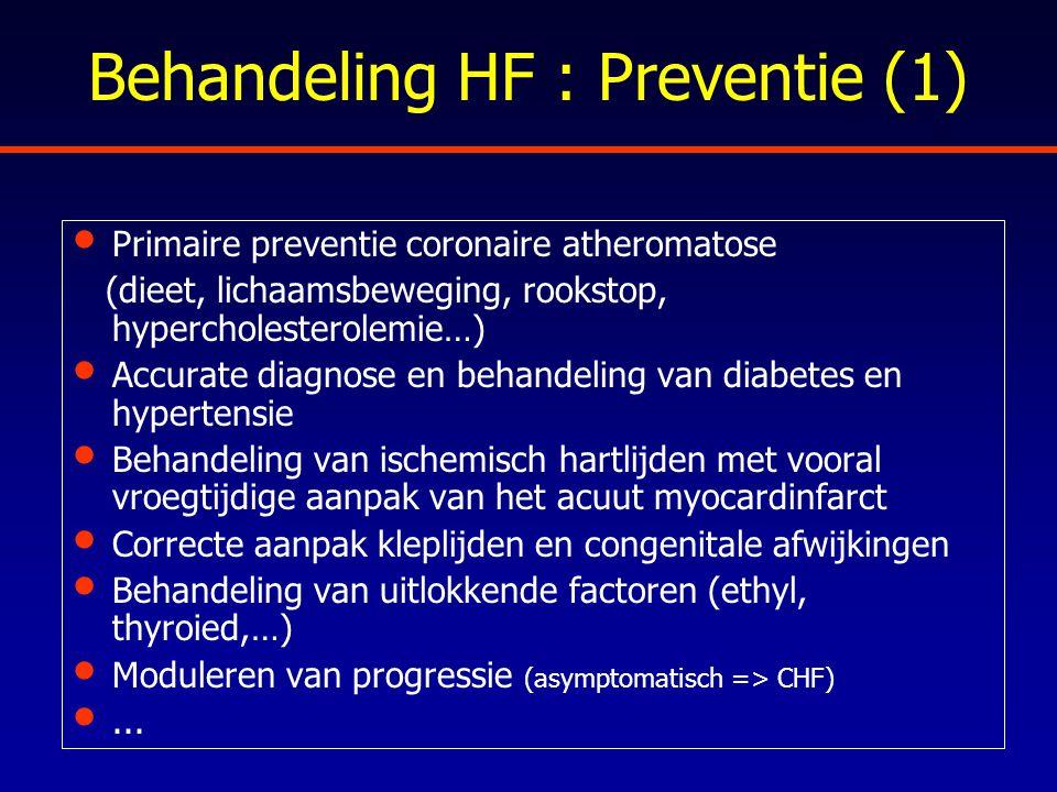 Behandeling HF : Preventie (1) Primaire preventie coronaire atheromatose (dieet, lichaamsbeweging, rookstop, hypercholesterolemie…) Accurate diagnose