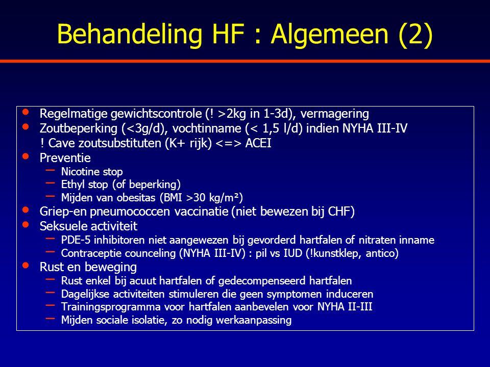 Behandeling HF : Algemeen (2) Regelmatige gewichtscontrole (! >2kg in 1-3d), vermagering Zoutbeperking (<3g/d), vochtinname (< 1,5 l/d) indien NYHA II