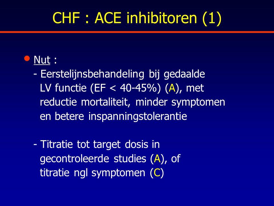 CHF : ACE inhibitoren (1) Nut : - Eerstelijnsbehandeling bij gedaalde LV functie (EF < 40-45%) (A), met reductie mortaliteit, minder symptomen en bete