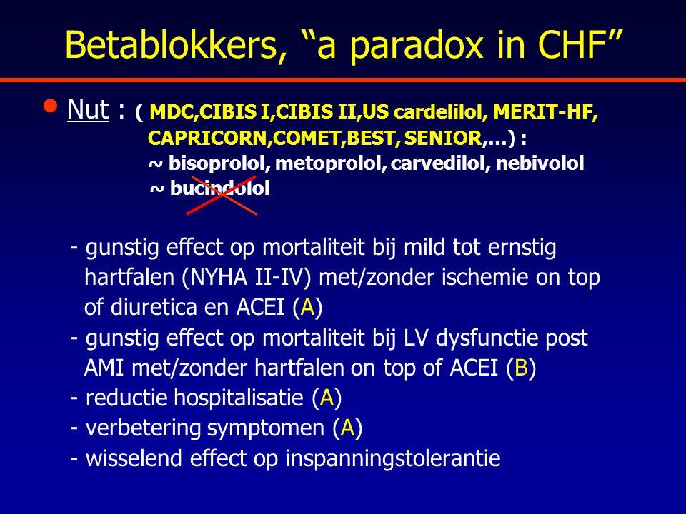"Betablokkers, ""a paradox in CHF"" Nut : ( MDC,CIBIS I,CIBIS II,US cardelilol, MERIT-HF, CAPRICORN,COMET,BEST, SENIOR,…) : ~ bisoprolol, metoprolol, car"