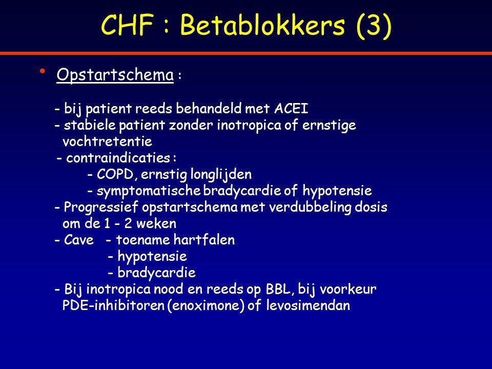 CHF : Betablokkers (3) Opstartschema : - bij patient reeds behandeld met ACEI - stabiele patient zonder inotropica of ernstige vochtretentie - contrai