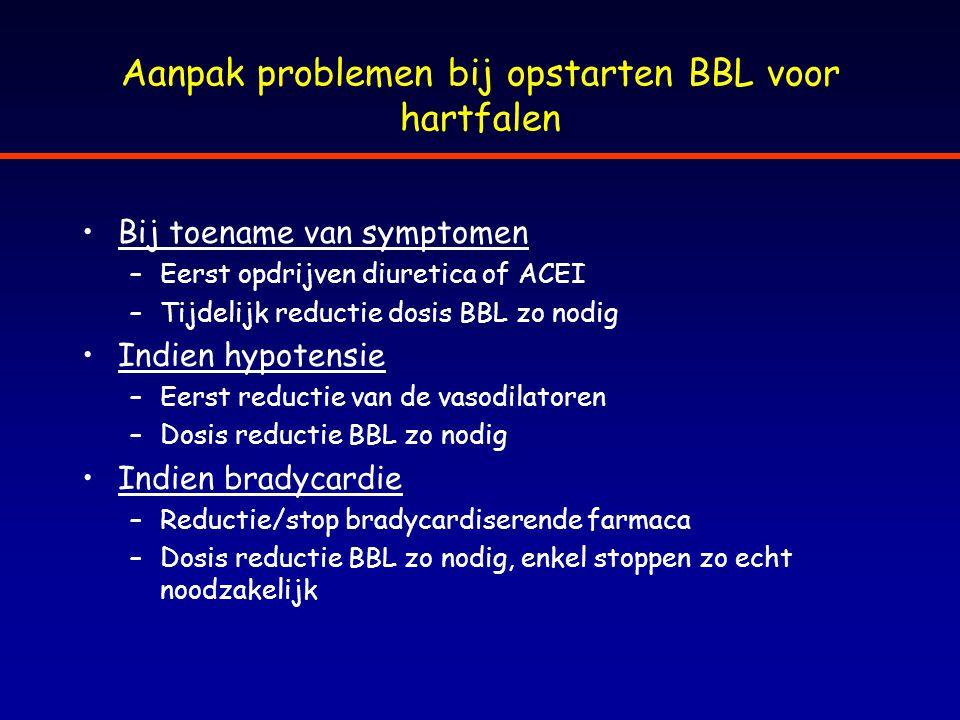 Aanpak problemen bij opstarten BBL voor hartfalen Bij toename van symptomen –Eerst opdrijven diuretica of ACEI –Tijdelijk reductie dosis BBL zo nodig