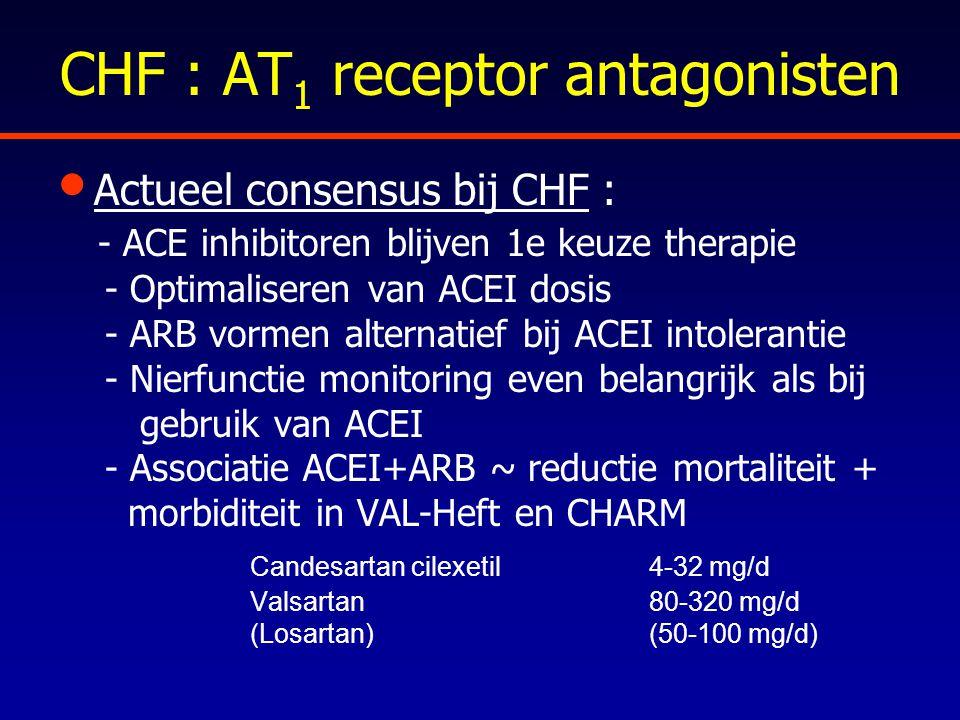 CHF : AT 1 receptor antagonisten Actueel consensus bij CHF : - ACE inhibitoren blijven 1e keuze therapie - Optimaliseren van ACEI dosis - ARB vormen a