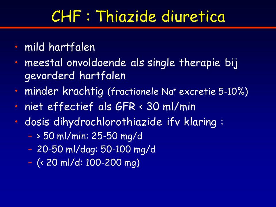 CHF : Thiazide diuretica mild hartfalen meestal onvoldoende als single therapie bij gevorderd hartfalen minder krachtig (fractionele Na + excretie 5-1