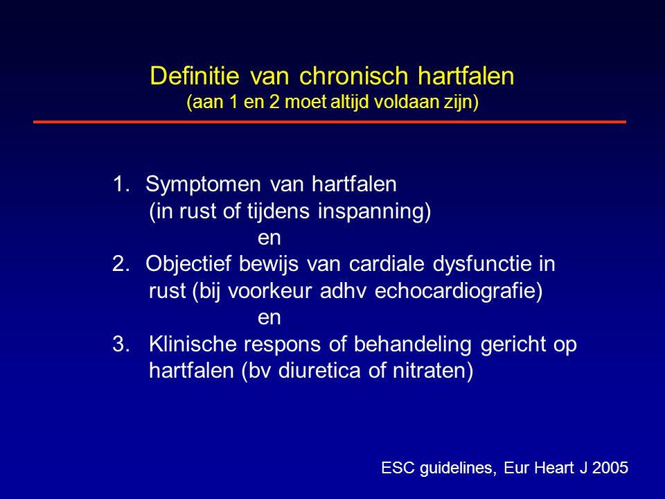Definitie van chronisch hartfalen (aan 1 en 2 moet altijd voldaan zijn) ESC guidelines, Eur Heart J 2005 1.Symptomen van hartfalen (in rust of tijdens