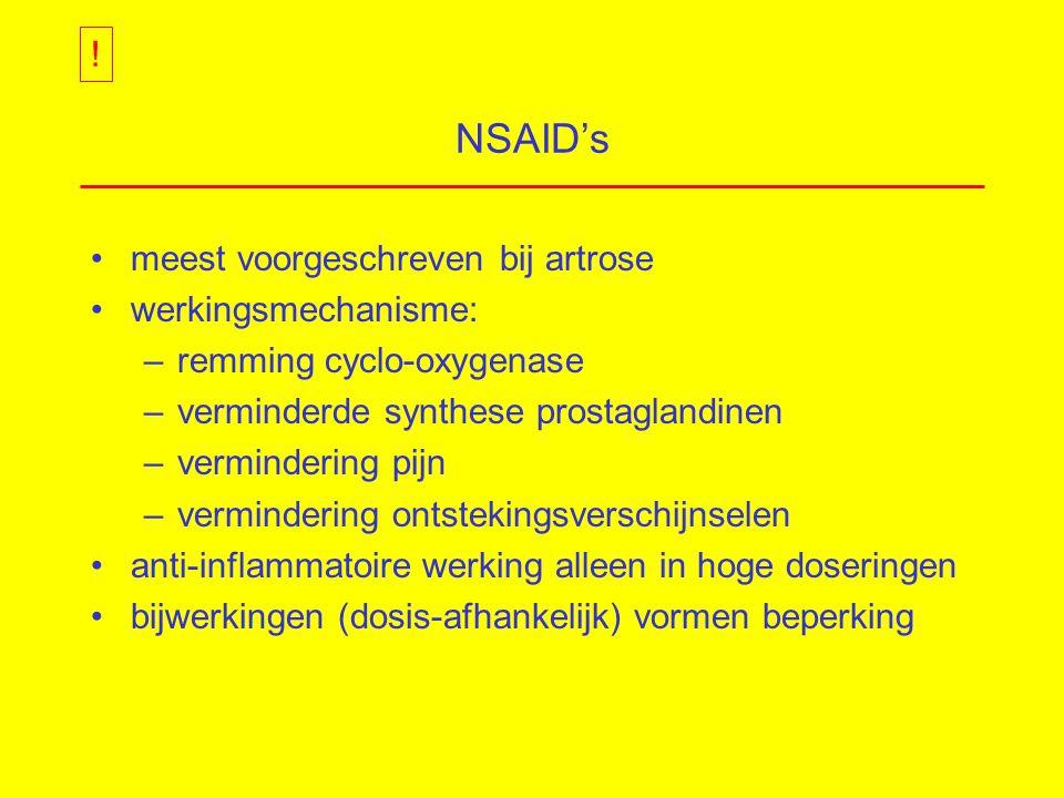 NSAID's meest voorgeschreven bij artrose werkingsmechanisme: –remming cyclo-oxygenase –verminderde synthese prostaglandinen –vermindering pijn –vermindering ontstekingsverschijnselen anti-inflammatoire werking alleen in hoge doseringen bijwerkingen (dosis-afhankelijk) vormen beperking !
