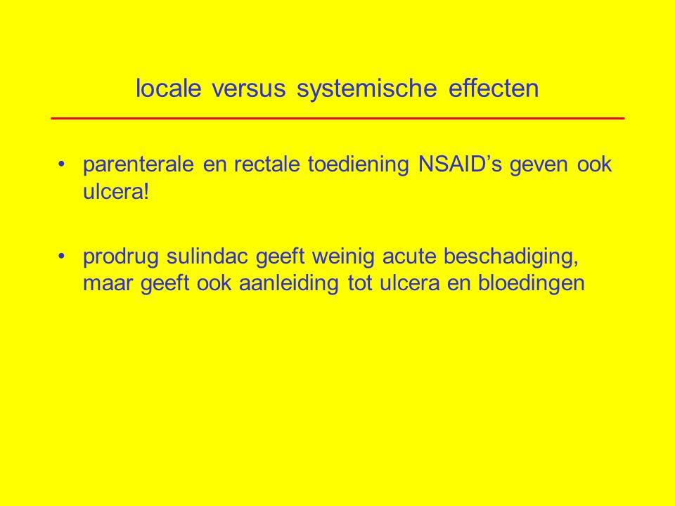 locale versus systemische effecten parenterale en rectale toediening NSAID's geven ook ulcera.