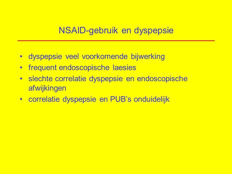 NSAID-gebruik en dyspepsie dyspepsie veel voorkomende bijwerking frequent endoscopische laesies slechte correlatie dyspepsie en endoscopische afwijkingen correlatie dyspepsie en PUB's onduidelijk