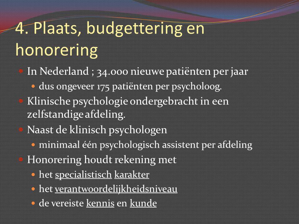 4. Plaats, budgettering en honorering In Nederland ; 34.000 nieuwe patiënten per jaar dus ongeveer 175 patiënten per psycholoog. Klinische psychologie