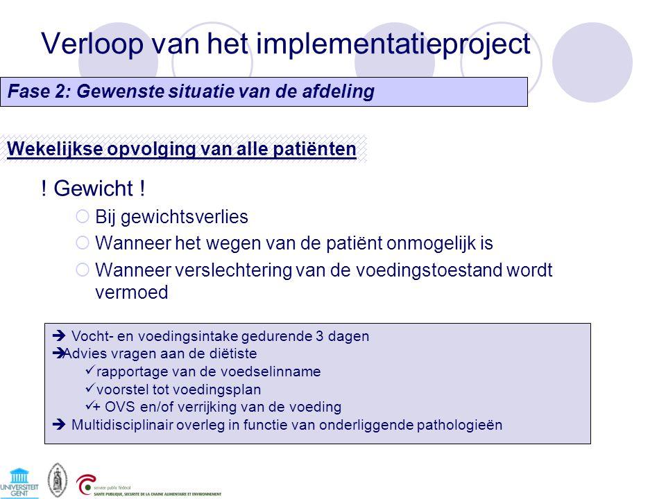 Verloop van het implementatieproject Fase 2: Gewenste situatie van de afdeling Wekelijkse opvolging van alle patiënten ! Gewicht !  Bij gewichtsverli