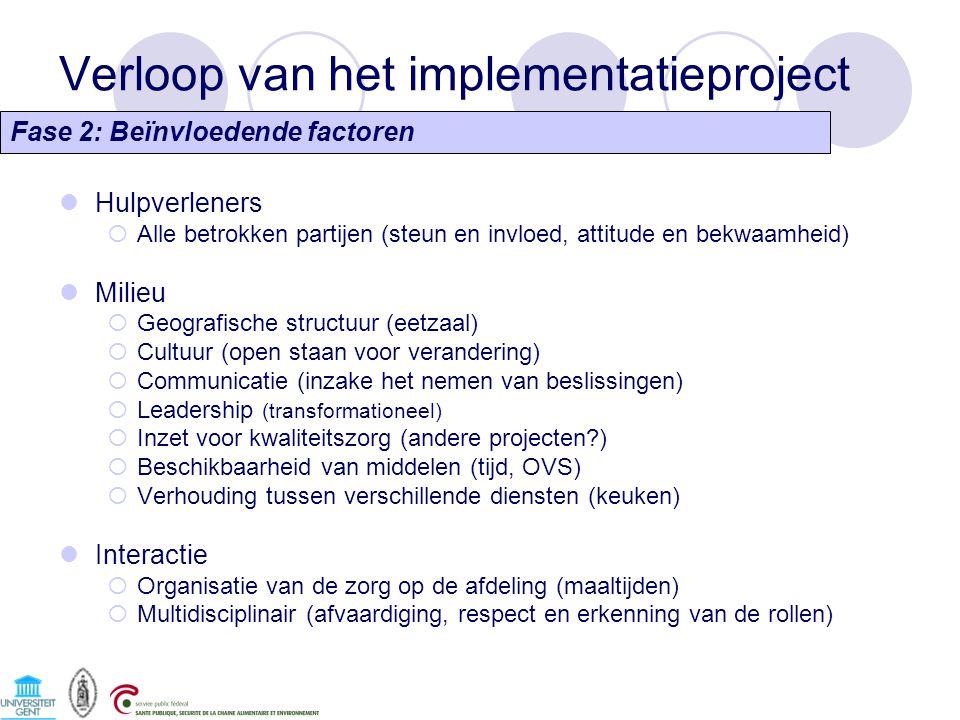 Verloop van het implementatieproject Fase 2: Beïnvloedende factoren Hulpverleners  Alle betrokken partijen (steun en invloed, attitude en bekwaamheid