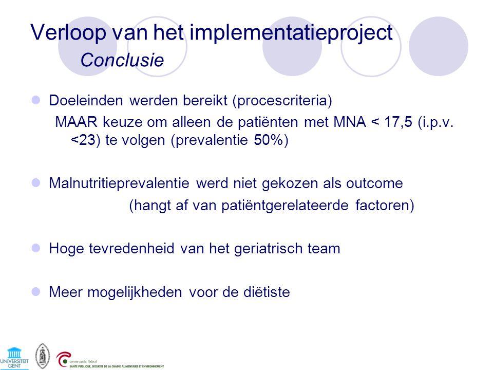 Verloop van het implementatieproject Conclusie Doeleinden werden bereikt (procescriteria) MAAR keuze om alleen de patiënten met MNA < 17,5 (i.p.v. <23