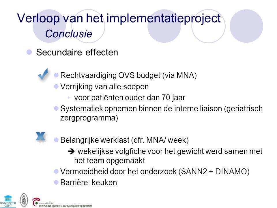 Secundaire effecten Rechtvaardiging OVS budget (via MNA) Verrijking van alle soepen voor patiënten ouder dan 70 jaar Systematiek opnemen binnen de interne liaison (geriatrisch zorgprogramma) Belangrijke werklast (cfr.