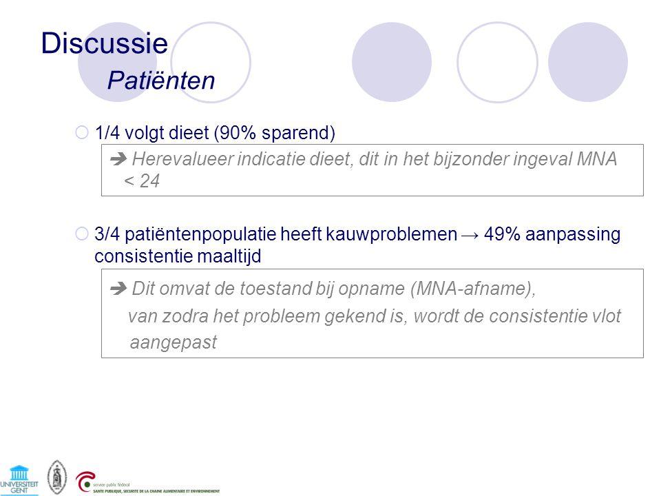Discussie Patiënten  1/4 volgt dieet (90% sparend)  Herevalueer indicatie dieet, dit in het bijzonder ingeval MNA < 24  3/4 patiëntenpopulatie heef