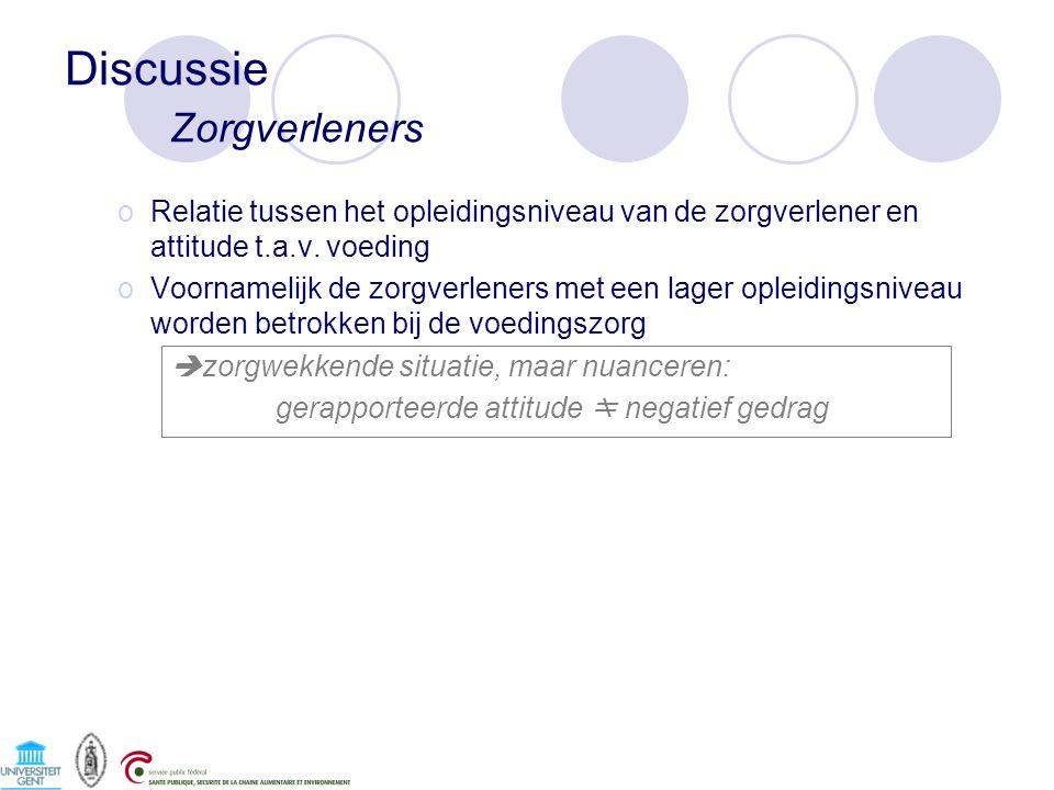Discussie Zorgverleners oRelatie tussen het opleidingsniveau van de zorgverlener en attitude t.a.v.