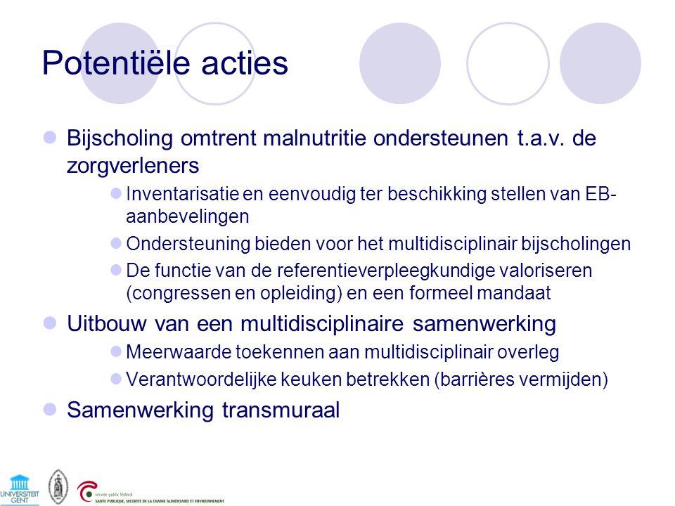 Potentiële acties Bijscholing omtrent malnutritie ondersteunen t.a.v. de zorgverleners Inventarisatie en eenvoudig ter beschikking stellen van EB- aan