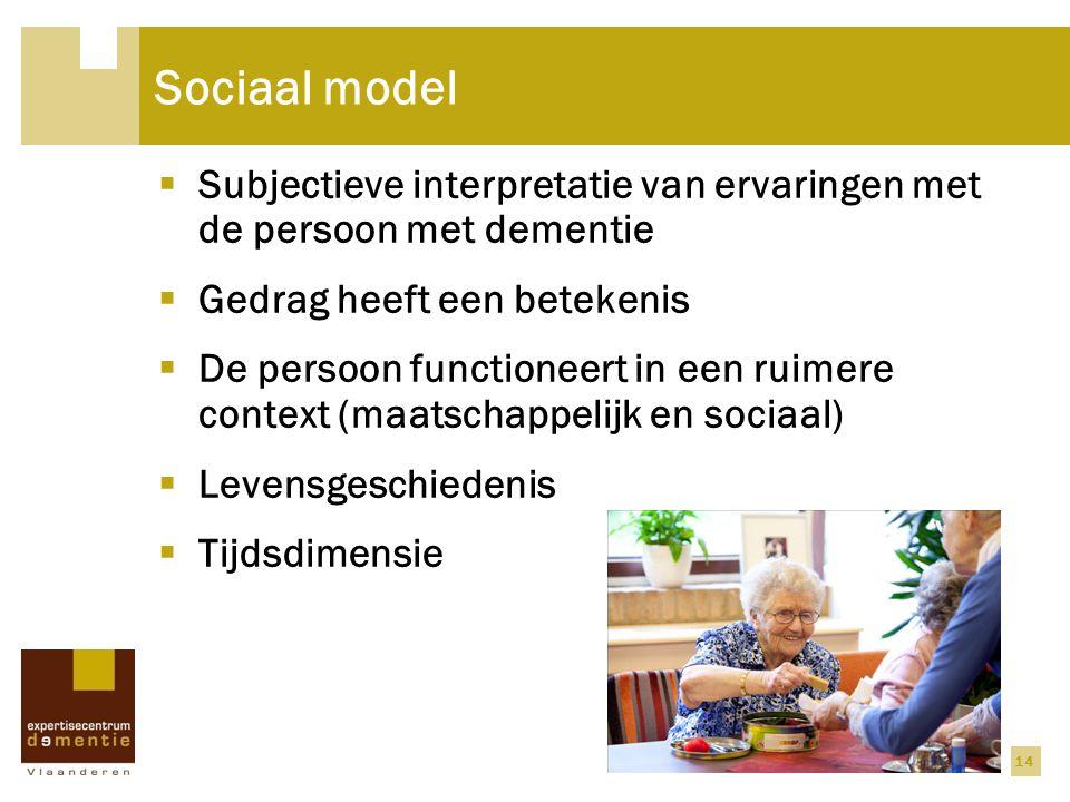 14 Sociaal model  Subjectieve interpretatie van ervaringen met de persoon met dementie  Gedrag heeft een betekenis  De persoon functioneert in een