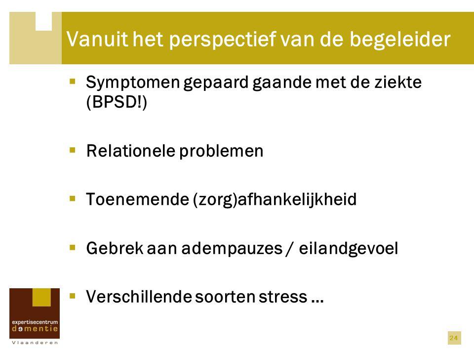Vanuit het perspectief van de begeleider  Symptomen gepaard gaande met de ziekte (BPSD!)  Relationele problemen  Toenemende (zorg)afhankelijkheid 