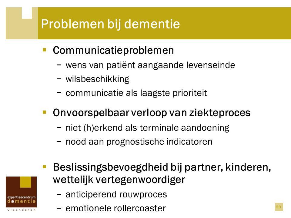 Problemen bij dementie  Communicatieproblemen − wens van patiënt aangaande levenseinde − wilsbeschikking − communicatie als laagste prioriteit  Onvo