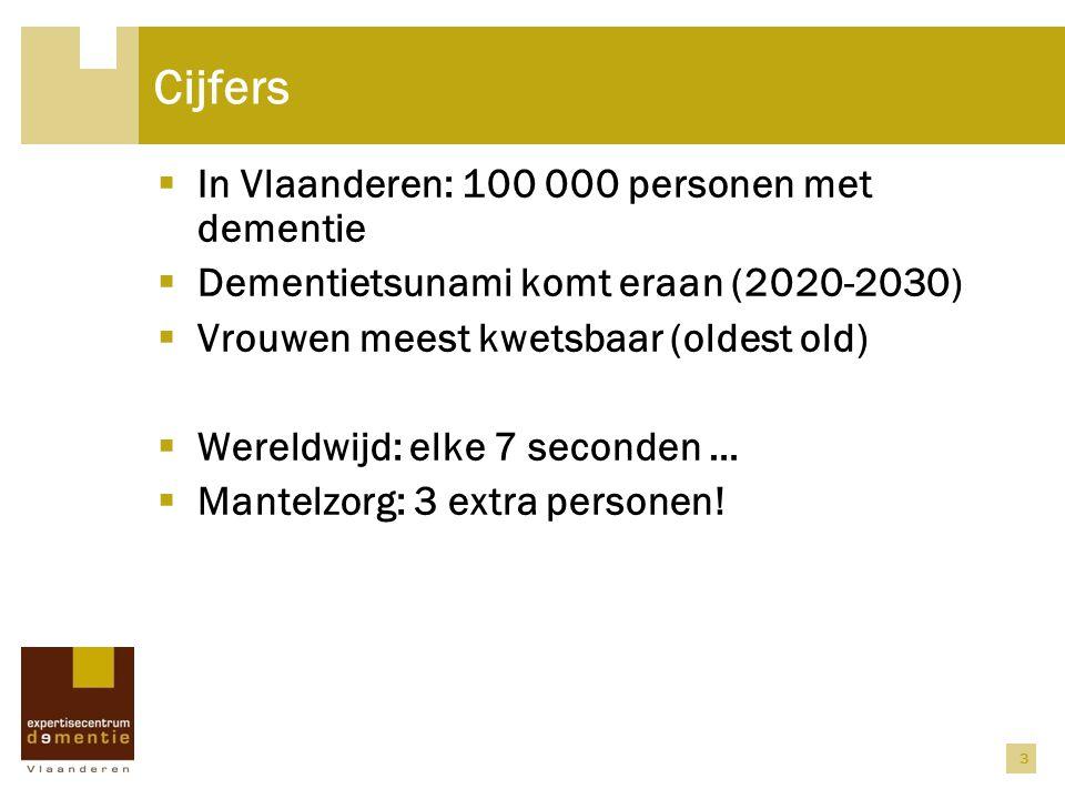 3 Cijfers  In Vlaanderen: 100 000 personen met dementie  Dementietsunami komt eraan (2020-2030)  Vrouwen meest kwetsbaar (oldest old)  Wereldwijd: