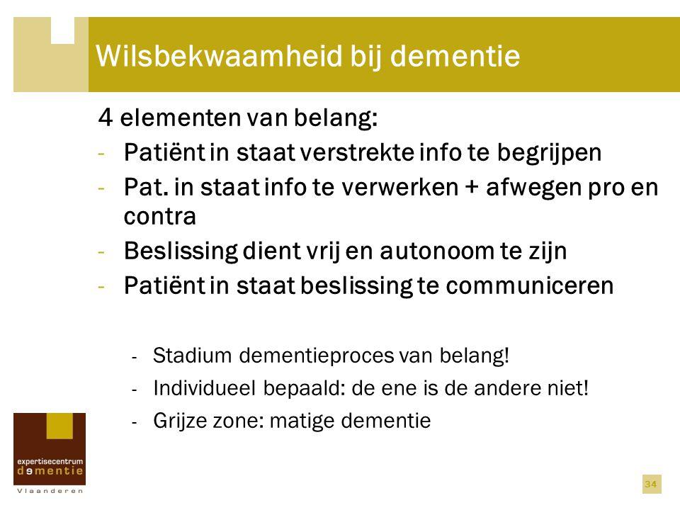 Wilsbekwaamheid bij dementie 4 elementen van belang: -Patiënt in staat verstrekte info te begrijpen -Pat. in staat info te verwerken + afwegen pro en