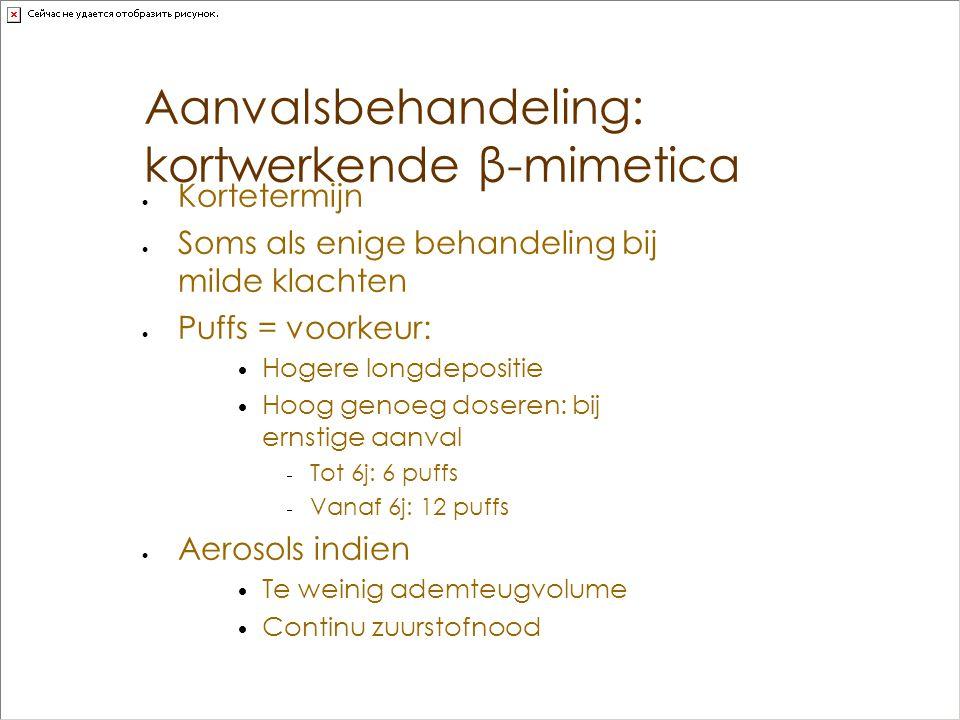 Aanvalsbehandeling: kortwerkende β-mimetica  Kortetermijn  Soms als enige behandeling bij milde klachten  Puffs = voorkeur:  Hogere longdepositie