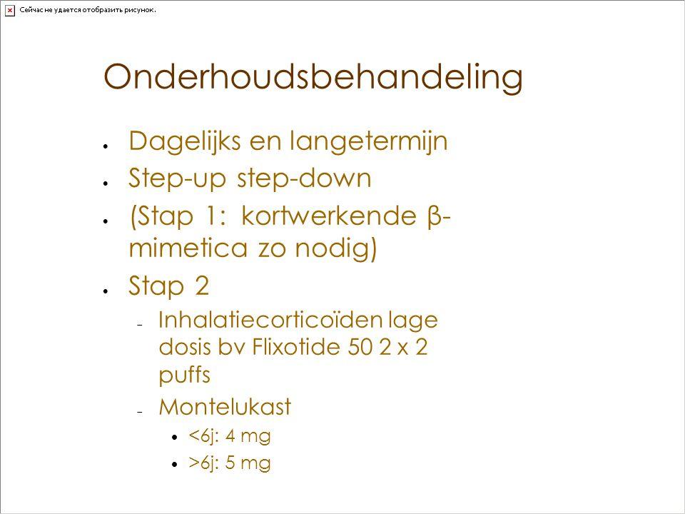 Onderhoudsbehandeling  Dagelijks en langetermijn  Step-up step-down  (Stap 1: kortwerkende β- mimetica zo nodig)  Stap 2  Inhalatiecorticoïden la
