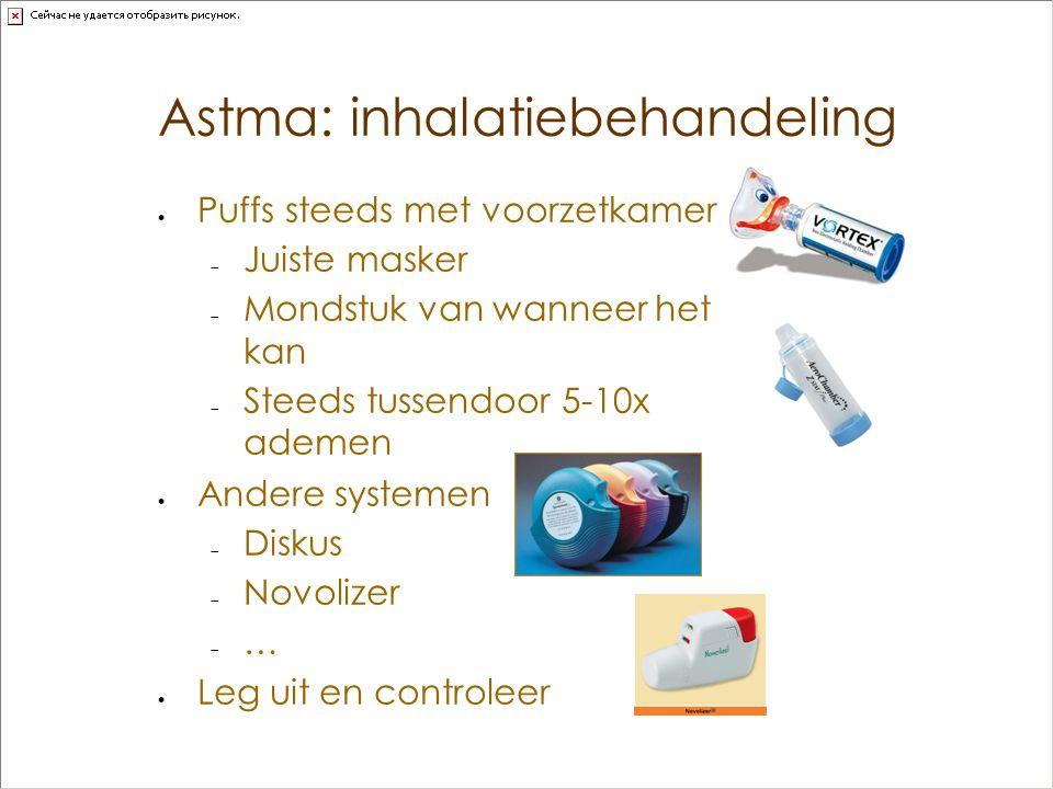 Astma: inhalatiebehandeling  Puffs steeds met voorzetkamer  Juiste masker  Mondstuk van wanneer het kan  Steeds tussendoor 5-10x ademen  Andere s