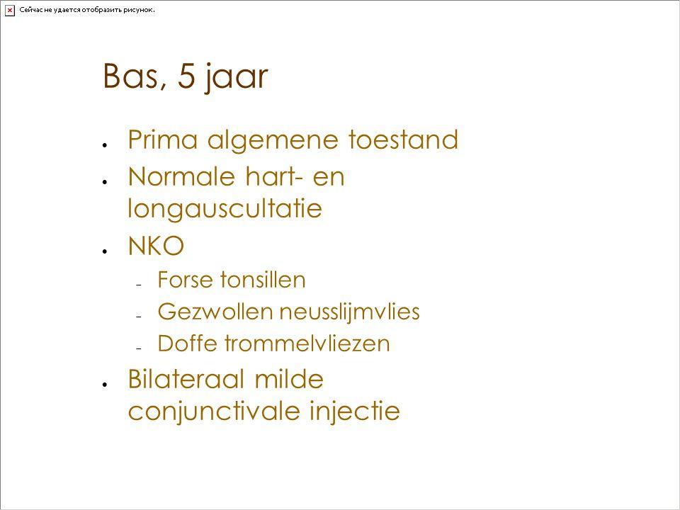 Bas, 5 jaar  Prima algemene toestand  Normale hart- en longauscultatie  NKO  Forse tonsillen  Gezwollen neusslijmvlies  Doffe trommelvliezen  B