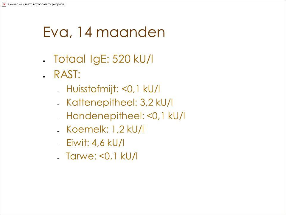 Eva, 14 maanden  Totaal IgE: 520 kU/l  RAST:  Huisstofmijt: <0,1 kU/l  Kattenepitheel: 3,2 kU/l  Hondenepitheel: <0,1 kU/l  Koemelk: 1,2 kU/l 