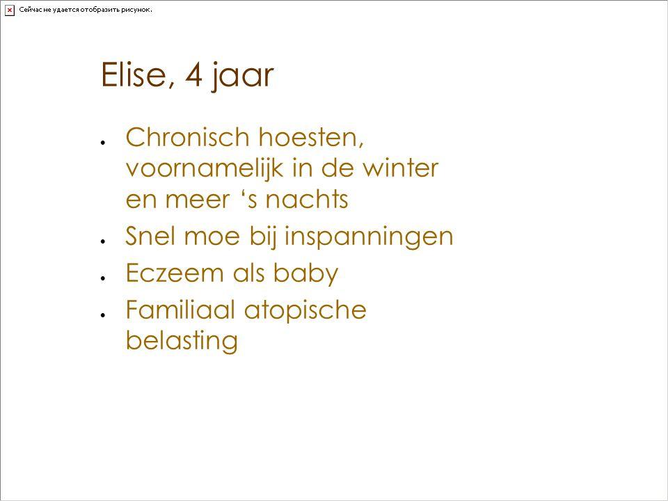 Elise, 4 jaar  Chronisch hoesten, voornamelijk in de winter en meer 's nachts  Snel moe bij inspanningen  Eczeem als baby  Familiaal atopische bel